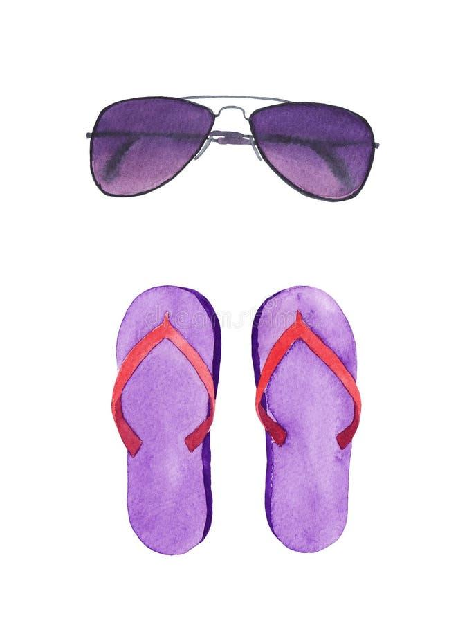 Solglasögon och sandaler för vattenfärg purpurfärgad vektor illustrationer