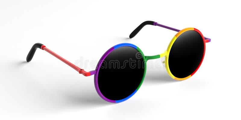 Solglasögon rundar den metalliska ramen för mång- färg för glad stolthet med den svarta linsen, sidosikt, på en vit bakgrund, ill stock illustrationer