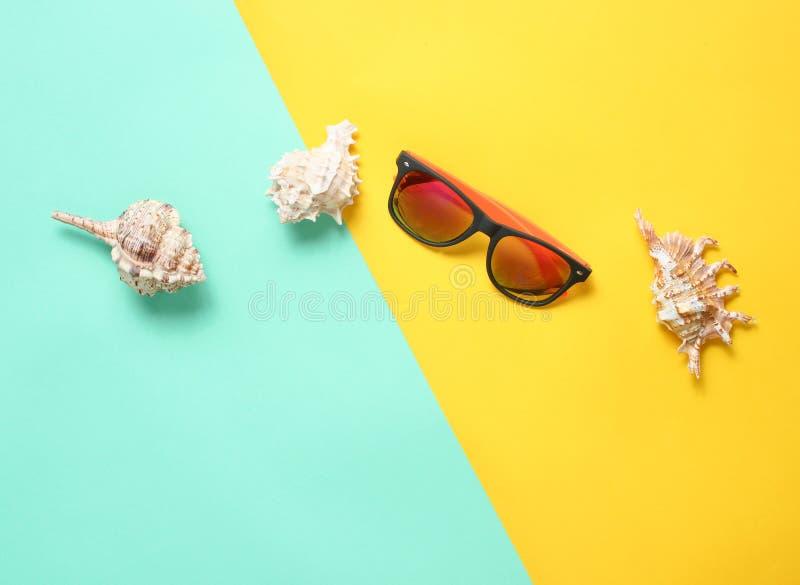 Solglasögon snäckskal på en kulör pastellfärgad bakgrund, strandtillbehör, den bästa sikten, minimalism, lägenhet lägger arkivfoton
