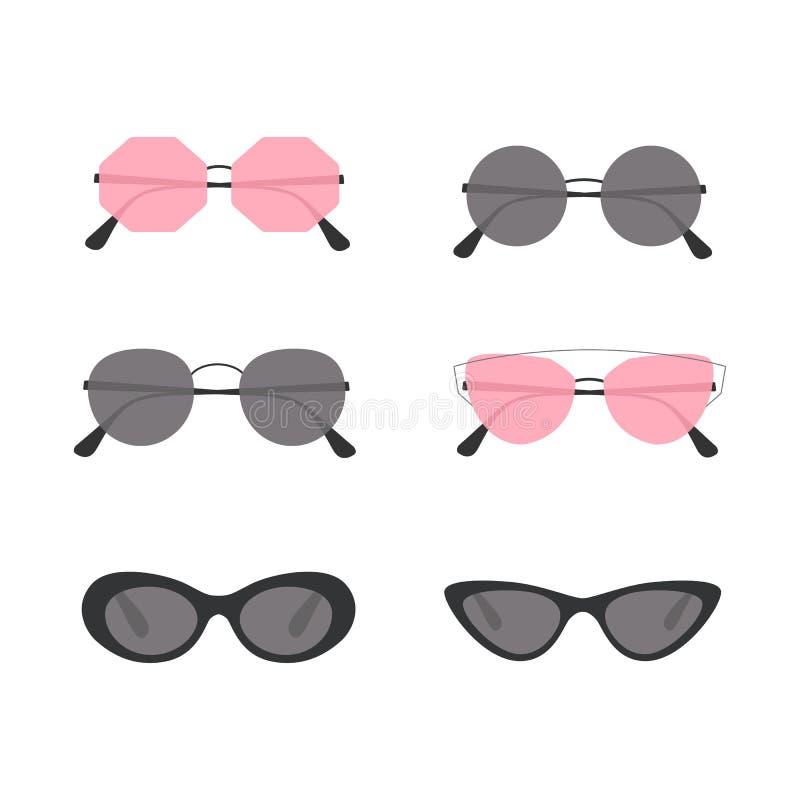 solglasögon Uppsättning av färgrika solglasögonsymboler liten purpur påse Moderiktigt sommarglasögon vektor stock illustrationer