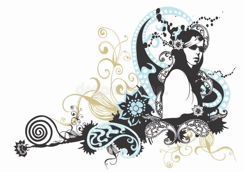 solglasögonkvinna stock illustrationer