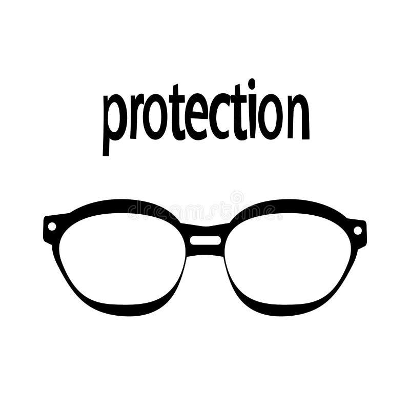 Solglasögonskydd från bändande upp ögon stock illustrationer