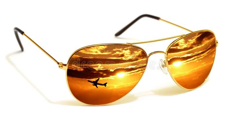 solglasögonsolnedgång arkivfoto