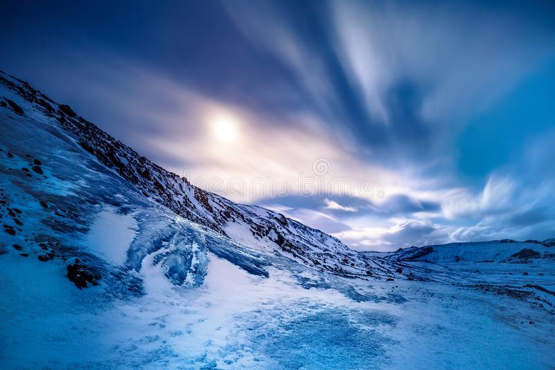 Solheimajokull glacier. Amazing view on the Solheimajokull glacier, iced mountain covered with snow, beautiful winter landscape, Myrdalsjokull, Iceland stock photos
