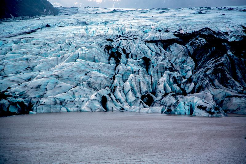 Solheimajokull glacier with blue ice stock image