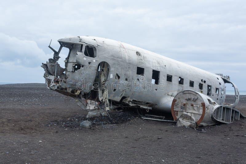 Solheimasandur plane wreck view. South Iceland landmark royalty free stock photo