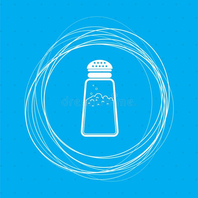 Soli lub pieprzy potrząsaczów, Kulinarną pikantności ikonę na błękitnym tle z abstraktów okręgami wokoło i miejsce dla twój tekst ilustracji