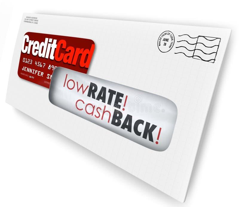 Solicitación Rate Cash Bac bajo del sobre de la letra de la oferta de la tarjeta de crédito ilustración del vector