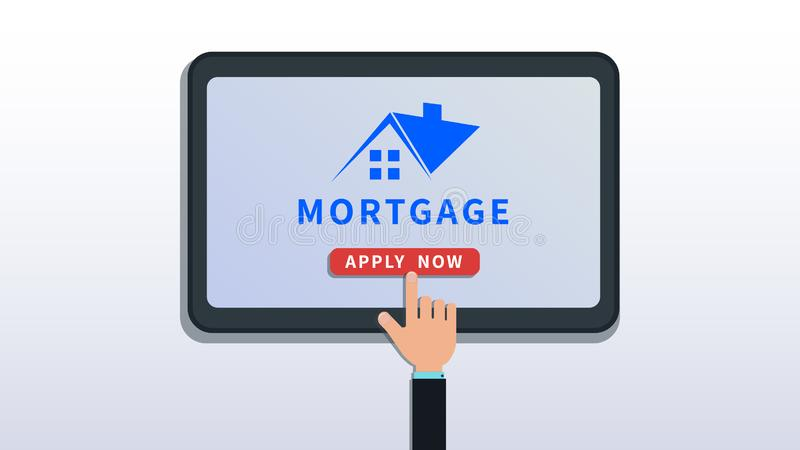 Solicite préstamo de hipoteca casera en línea La tableta o el smartphone plana con el logotipo de la casa, tecleo del finger de l stock de ilustración