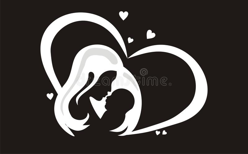 Solid black mother and child vector illustration