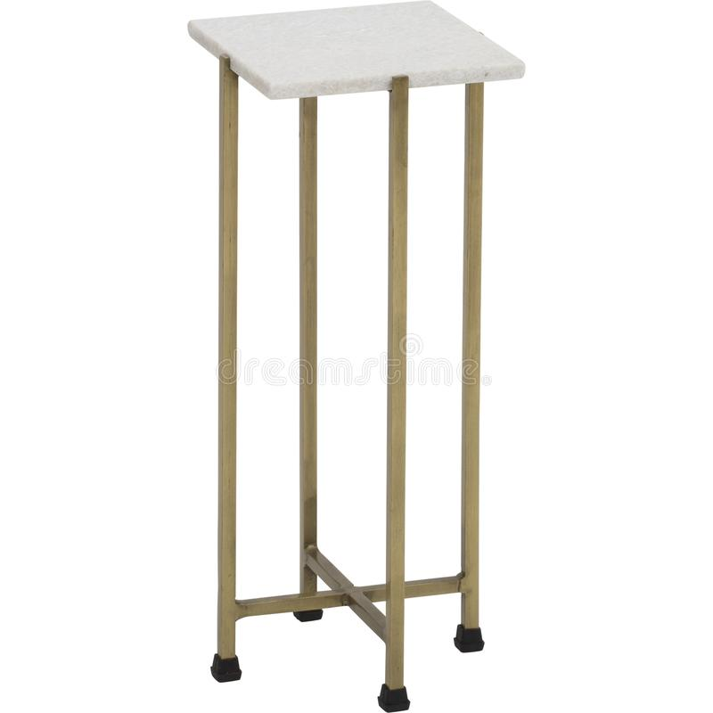 Solid Brass Tapered Leg Beveled Glass, end table side tables small regency gold leaf white top cover with white background royalty free stock images