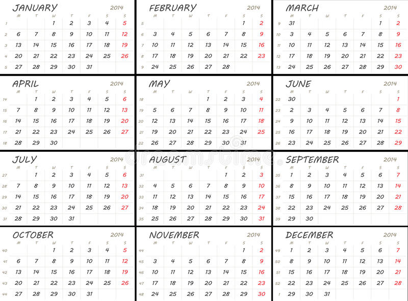 Solid 2014 Calendar Template Stock Illustration Illustration Of