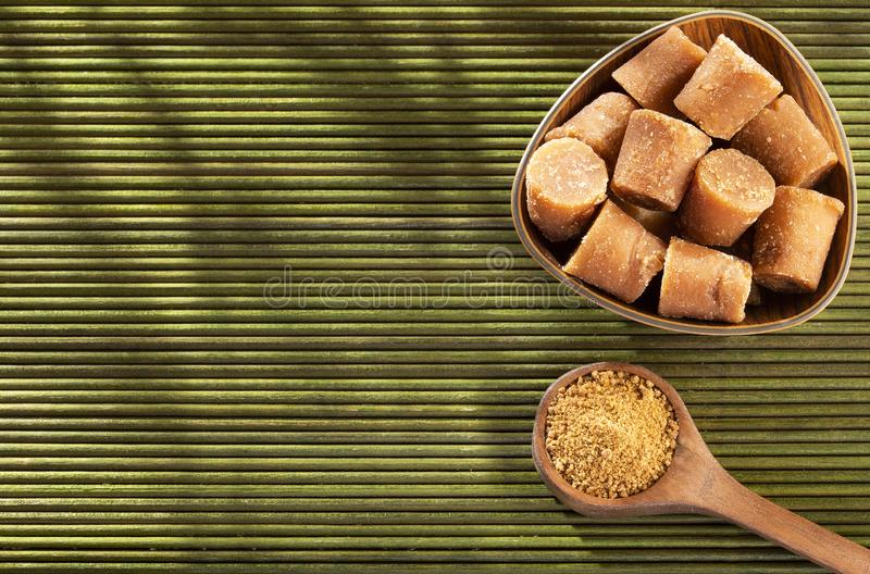Solid Cane sugar concentrate - Saccharum officinarum. Panela or sugar cane candy - Saccharum officinarum stock image