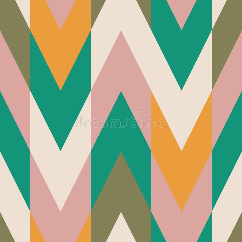 Solid color blocking chevron zig zag seamless repeat  pattern swatch. In green turquoise, ochre yellow gold, pink, cream, and olive colors royalty free illustration