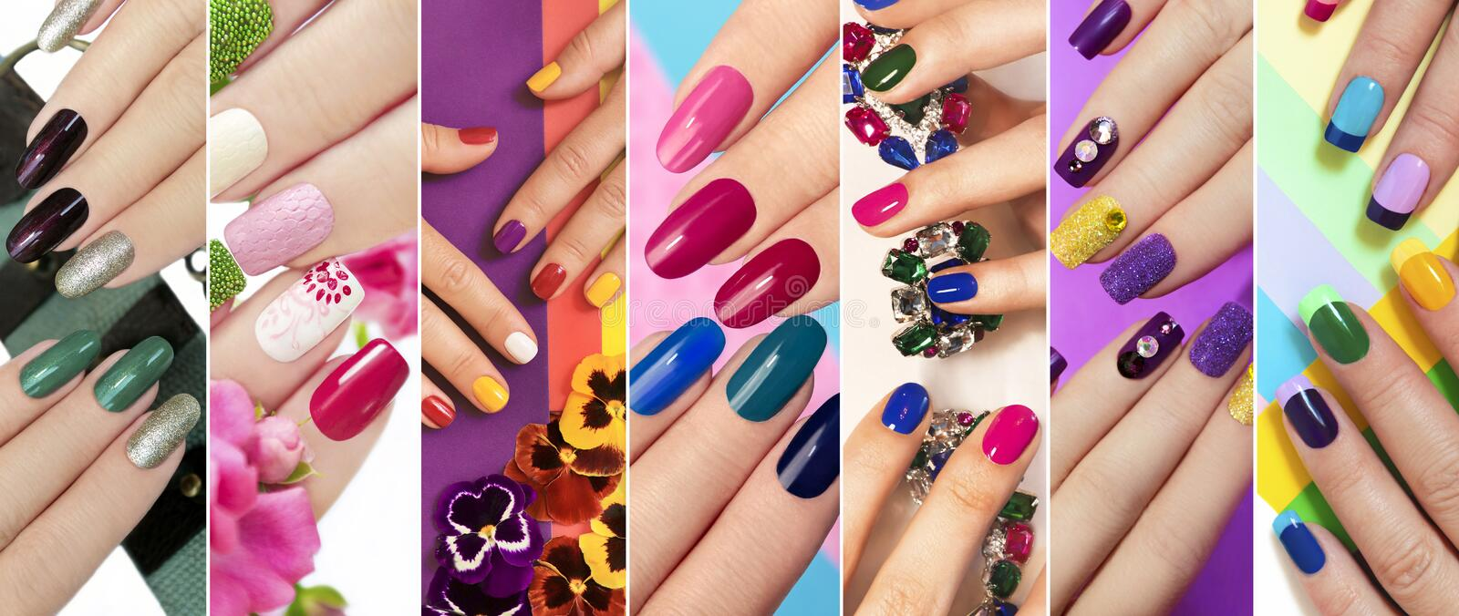Solid color manicure with bright nail polishes. A diverse range of nail design.Solid color manicure with bright nail polishes.Collage by nail art royalty free stock photo