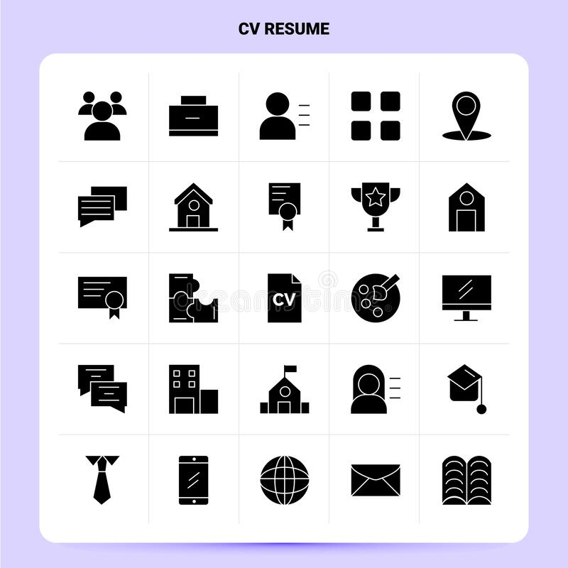 solid 25 cv resume icon set  vector glyph style design