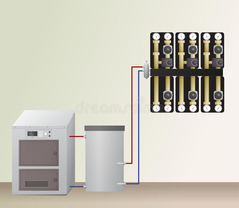 Solid fuel boiler with accumulator tank. Solid fuel boiler with accumulator tank in the heating system. Vector illustration. HVAC equipment and pump units royalty free illustration