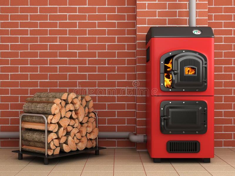 Solid fuel boiler. Boiler room royalty free illustration