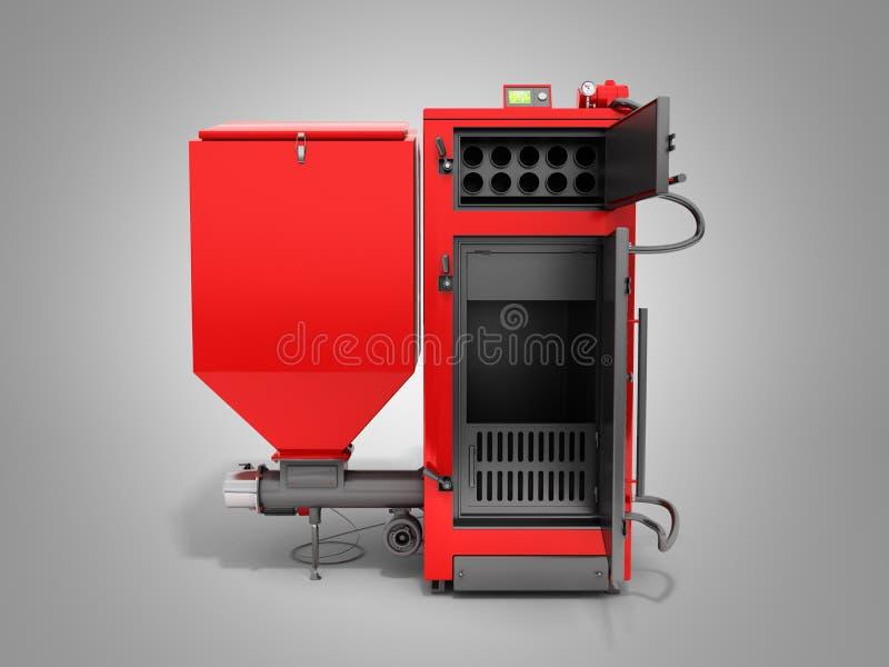 Solid fuel boiler 3D rendered image in grey. Solid fuel boiler 3D rendered image royalty free illustration