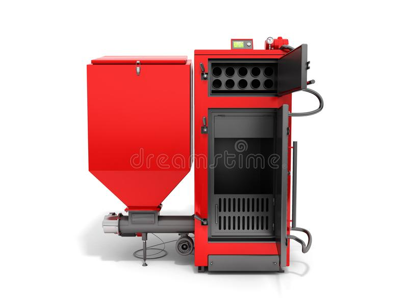 Solid fuel boiler 3D rendered image in white stock illustration