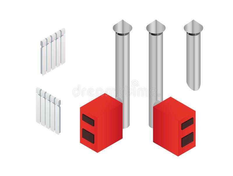 Solid fuel boiler in isometry vector illustration