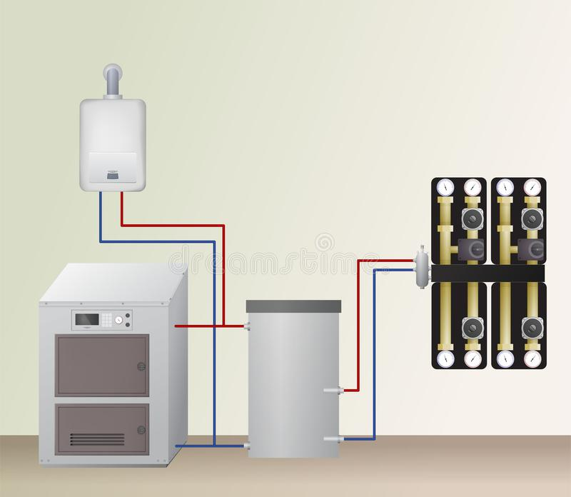 Solid and gas fuel boiler with accumulator tank. Solid and gas fuel boiler with accumulator tank in the heating system. Vector illustration. HVAC equipment and vector illustration