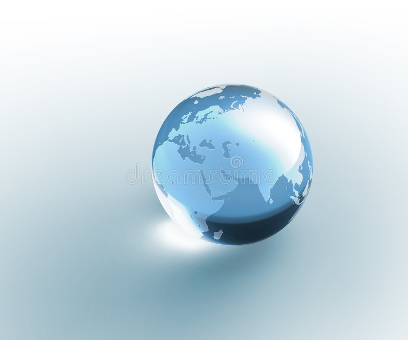Solid glass globe Earth transparent. Isolated blue (aquamarine) colored crystal glass globe with sandblasted world map. Photorealistic 3D rendering. Please look vector illustration