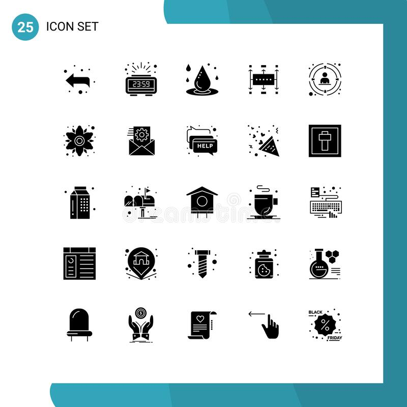 Solid Glyph Pack,包含25个通用符号链接、现代、落水、业务、工作流 向量例证