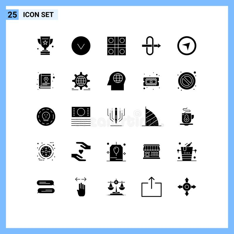 Solid Glyph Pack of 25 Universal Symbols of book, maps, ludo, direction, gateway. Modern Set of 25 Solid Glyphs and symbols such as book, maps, ludo, direction royalty free illustration