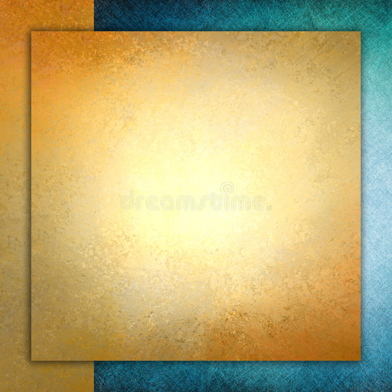 Solid gold paper layered on blue and gold background, square gold paper stock image