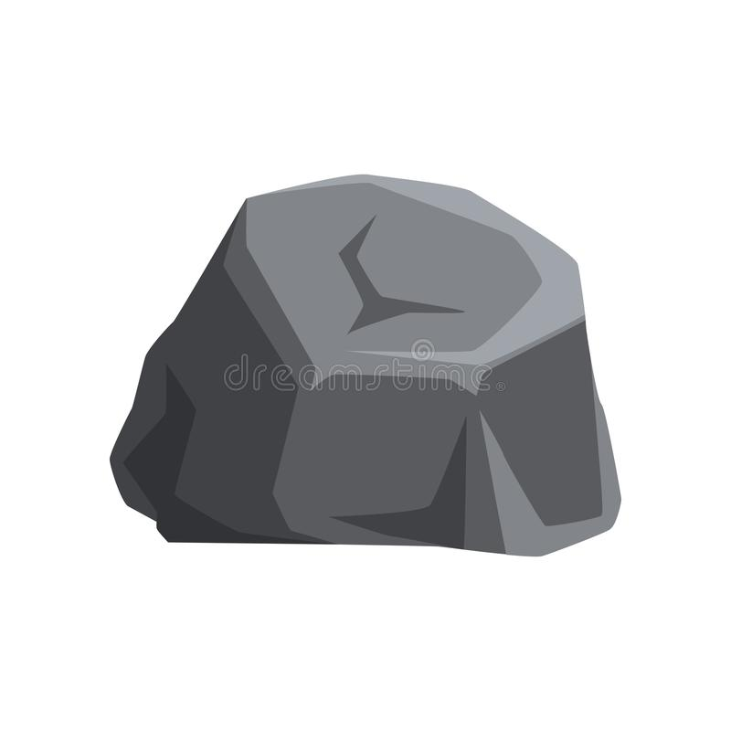 Solid gray stone with lights and shadows. Large mountain rock. Geology theme. Natural vector element for map or mobile. Solid gray stone with lights and shadows vector illustration
