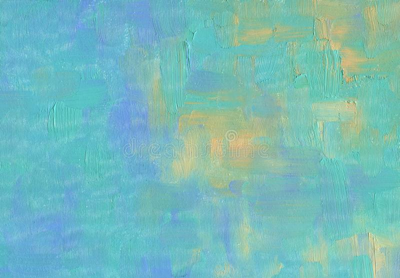 Solid hand drawn artistic background. Blue sky. Over the sea in a storm. Glimpses of the sun. Oil painting stock photography