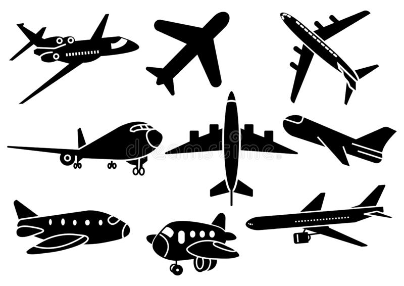 Solid icons Airplane set stock illustration