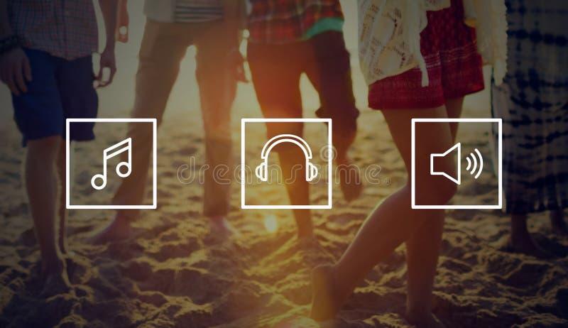 Solid konstnär Concept för musikHeadphonemassmedia arkivbild