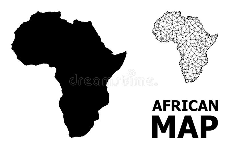 Solid and Mesh Map of Africa. Solid and mesh vector map of Africa. Linear carcass flat polygonal mesh in eps vector format, geographic models for economics vector illustration