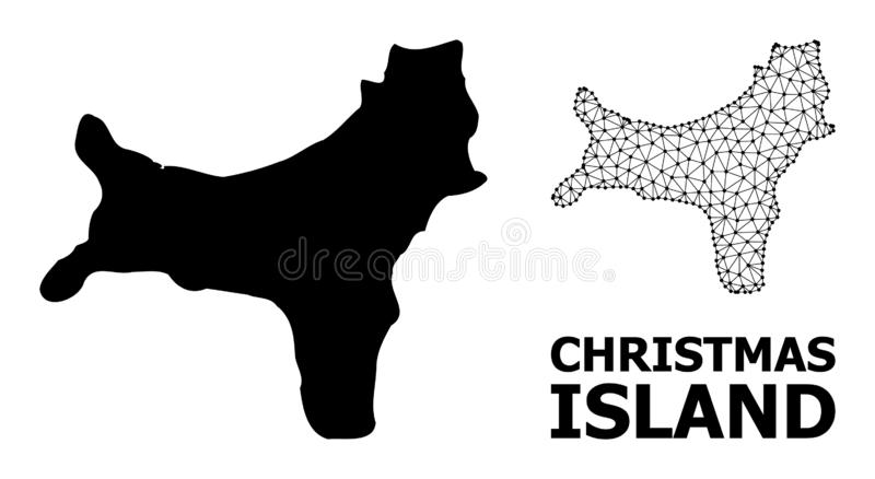 Solid and Network Map of Christmas Island royalty free illustration