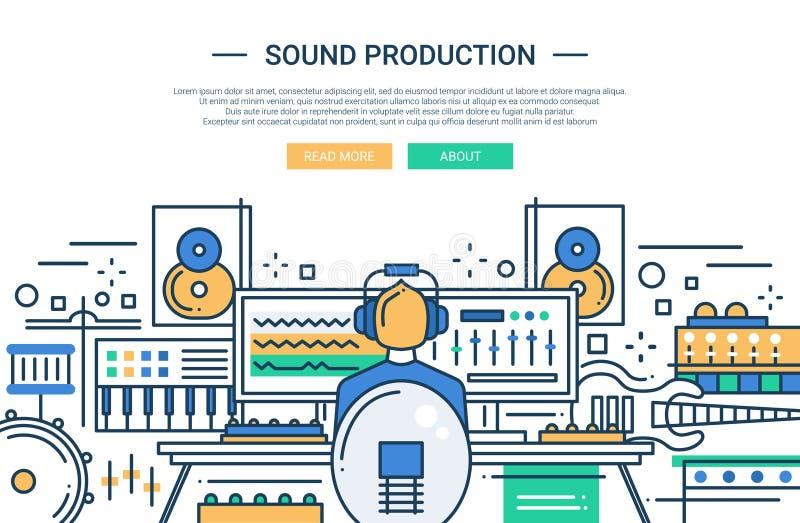 Solid produktion - mall för websitetitelradbaner royaltyfri illustrationer