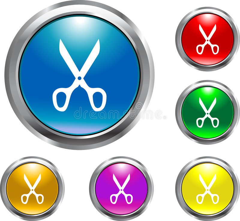 Solid Scissors Button. This is a solid scissors button for web design royalty free illustration