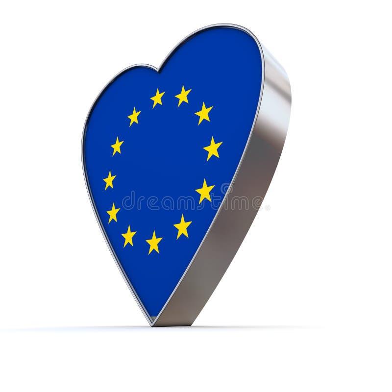 Download Solid Shiny Metallic Heart -Flag Of European Union Stock Illustration - Image: 14113514
