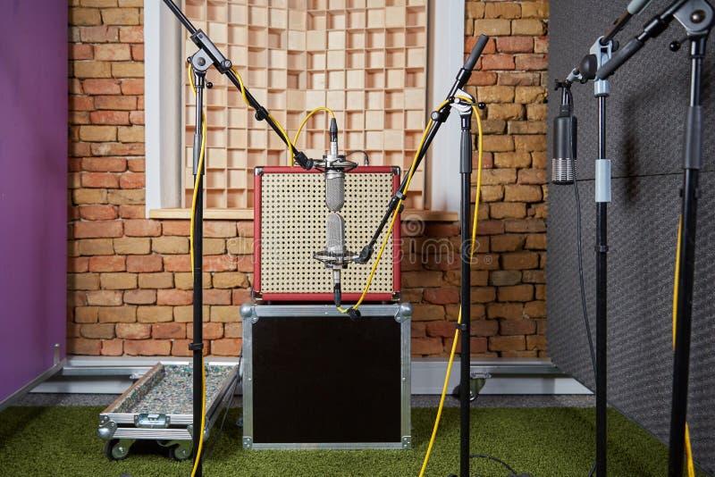 Solid studioinspelning med ampere- och blumleinmikrofoner royaltyfri fotografi