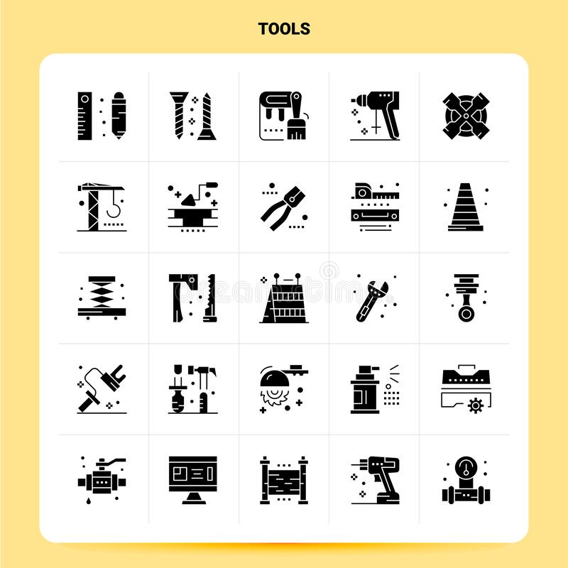 Solid 25 Tools Icon set. Vector Glyph Style Design Black Icons Set. Web and Mobile Business ideas design Vector Illustration vector illustration