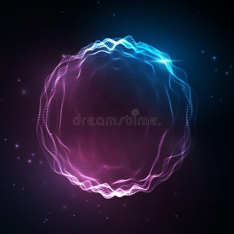 Solid våg Abstrakt neonbakgrund, vektormusikstämma, digitalt spektrum för sångwaveform, ljudsignal puls och frekvens royaltyfri illustrationer