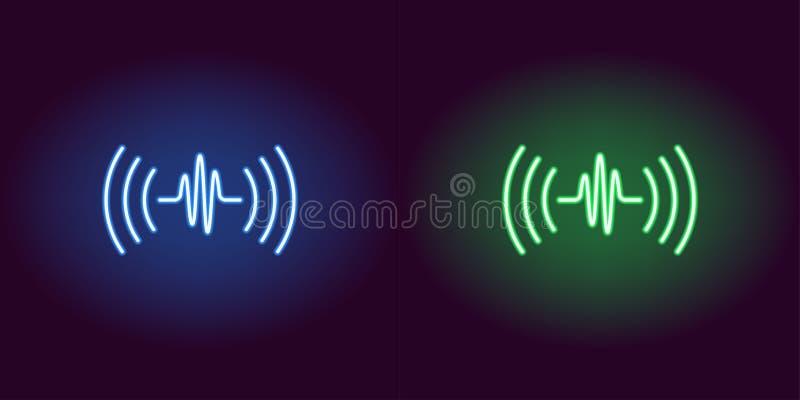 Solid våg för neon, glödande tecken Vektorstämmaljud stock illustrationer