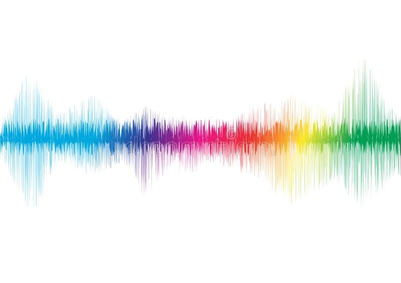 Solid våg, utjämnare, glödande musikaliska begrepp för spektrum, ljus vektor illustrationer