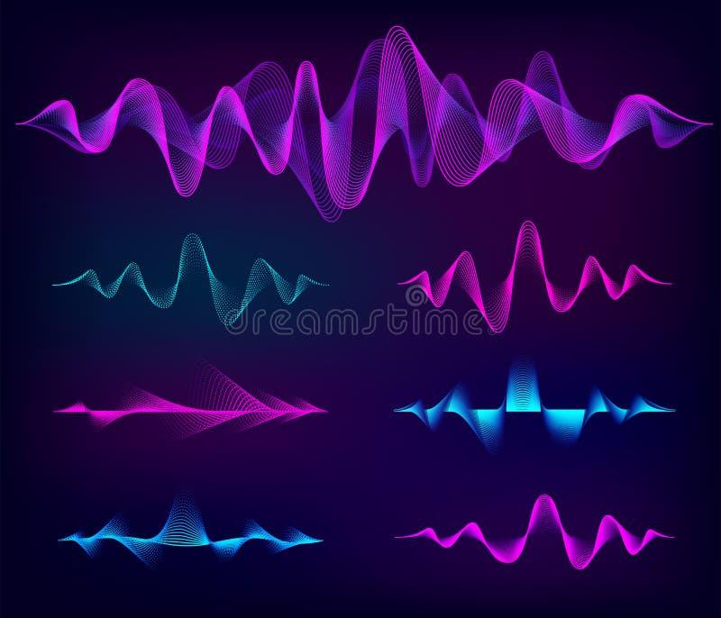 Solid vektoruppsättning för våg Musiksoundwavedesign, färgbeståndsdelar som isoleras på mörk bakgrund Radiofrekvenslinjer och stock illustrationer