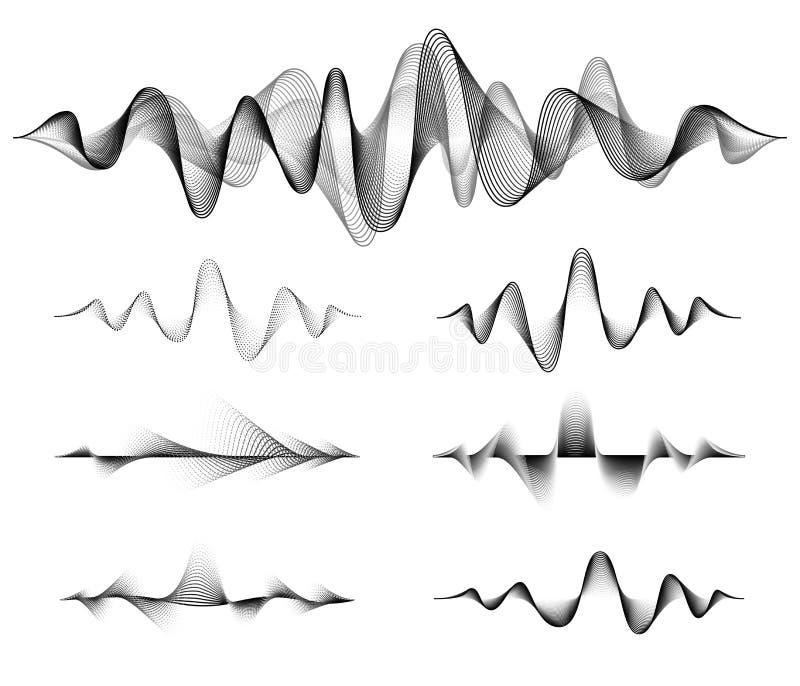 Solid vektorupps?ttning f?r v?g Musiksoundwavedesign, svart som isoleras på vit bakgrund Radiofrekvenslinjer och prickar vektor illustrationer