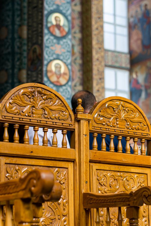 Solid wood chairs in the church stock photos
