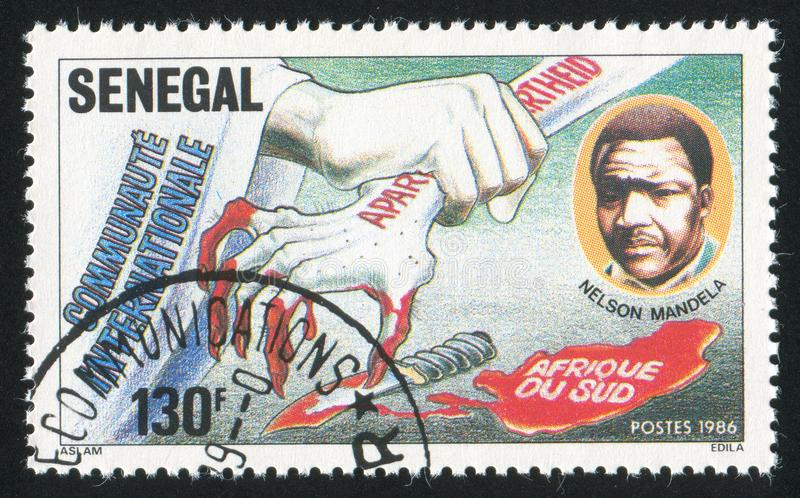 Solidarity Against South African Apartheid. SENEGAL - CIRCA 1987: stamp printed by Senegal, shows Solidarity Against South African Apartheid, circa 1987 royalty free stock images