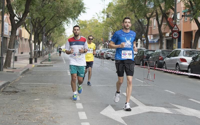 Solidary ras in Murcia, 24 Maart, 2019: Eerste solidariteitsras op de straten van Murcia in Spanje royalty-vrije stock afbeelding