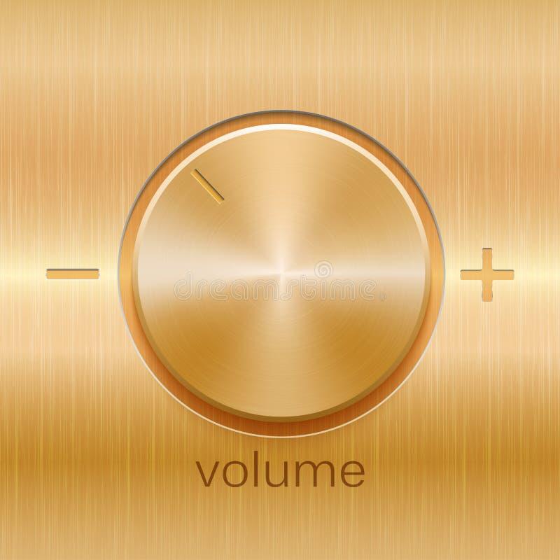 Solide Steuerung des Volumens mit goldener gebürsteter Beschaffenheit vektor abbildung